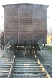 One of the train cars people were transported in.