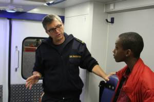 Andre explaining how things work on one of the paramedic trucks.