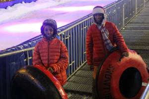 The boys got to go tubing at the first Christmas market to open in Berlin.