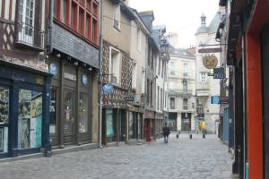 Typical street in old Rennes.