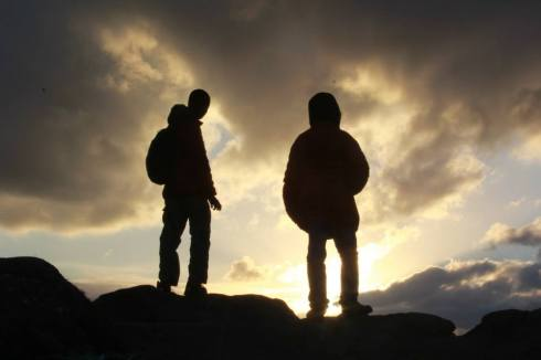 The Jobson boys in silhouette.